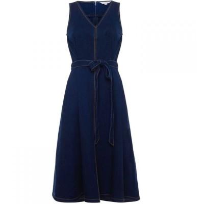 フレンチコネクション French Connection レディース パーティードレス デニム Vネック Pulika Chambray V Neck Belted Denim Dress Raw Blue