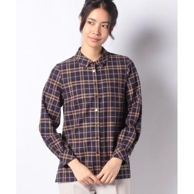 【バイス バーサ】 インポート素材 先染めチェックシャツ レディース ネイビー 40 VICE VERSA