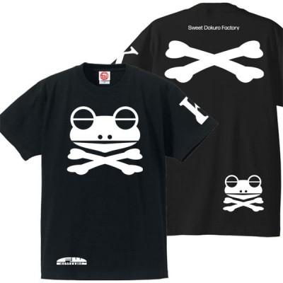 ドクロTシャツ 半袖 かえドクロ S M L XL ブラック ホワイトプリント おもしろTシャツ