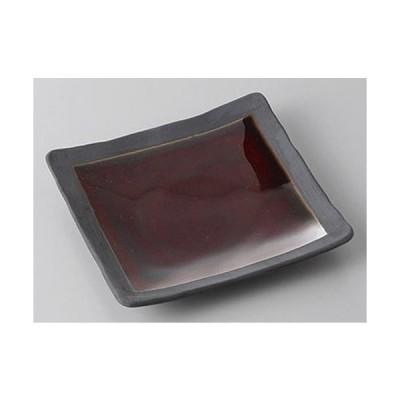 銘々皿 アメ釉角銘々皿 [12.4 x 12.4 x 2cm]  料亭 旅館 和食器 飲食店 業務用