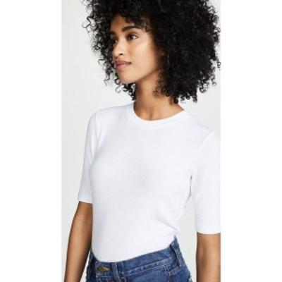 ゴルディー Goldie レディース 長袖Tシャツ トップス Ribbed Elbow Sleeve T-Shirt White