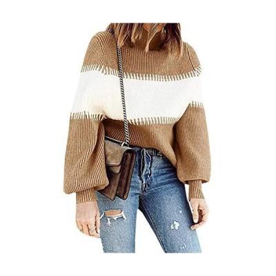 並行輸入品Hibluco レディース タートルネック バット長袖 ゆったり 秋 ニット プルオーバー セーター US サイズ: Medium カラー: