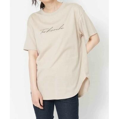 a.v.v/アー・ヴェ・ヴェ 【抗菌・防臭加工】ラウンドヘムロゴBIGTシャツ ベージュ XL