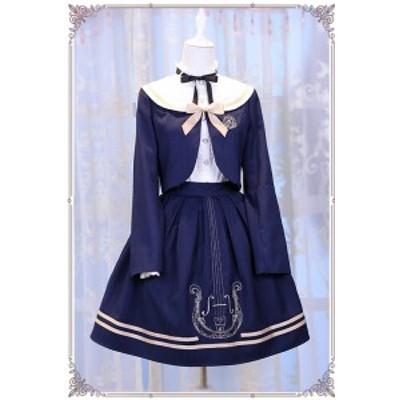 ロリータファッション lolita ロリィタ ロリータ Chess Story 制服風ジャケット+スカート 2ピース ストライプ リボン