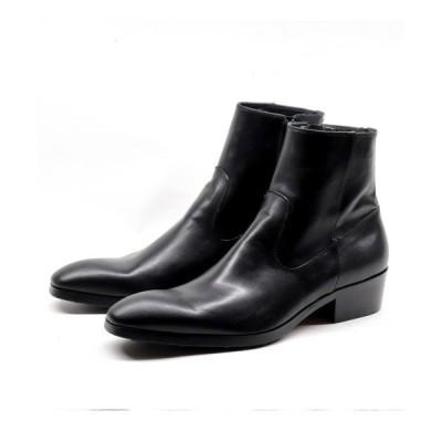 ブーツ whoop-de-doo/フープディドゥ 約5cmヒールアップ サイドジップブーツ