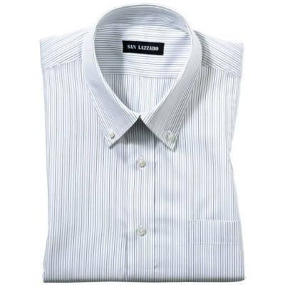 出張や洗い替えにも最適な形態安定Yシャツ(半袖)(S~5L)/ストライプB(ボタンダウン衿)/M