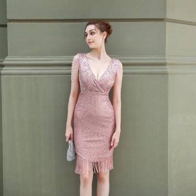 パーティードレスイブニングドレス可愛い安いミディドレスVネックナイトクラブフリンジ発表会キャバVネック