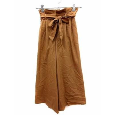 【中古】クイーンズコート QUEENS COURT パンツ ワイド リボン ベルト 1 キャメル 茶 ブラウン /AU レディース
