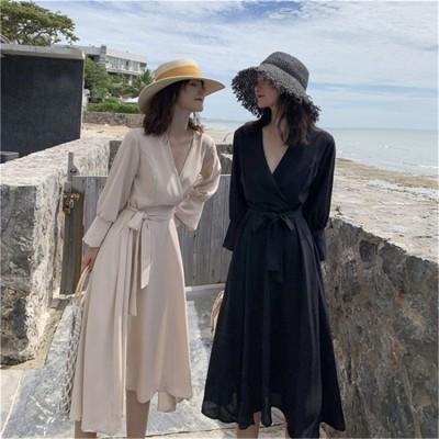 [55555SHOP]★新製品の入荷★早冬の新作  女性服 エレガント 細身 シャツワンピース 気質 Vネックドレス。ウエストは紐付きで美脚効果も抜群です。