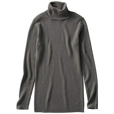 [セシール] セーター タートルネック ニットプルオーバー ウール混セーター 洗濯機OK レディース MS-2129 チャコールグレー L