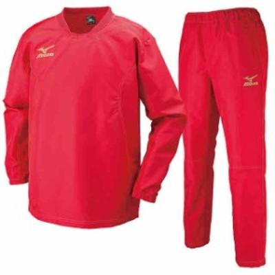 ミズノ タフブレーカーシャツ&パンツ 上下セット チャイニーズレッド×チャイニーズレッド R2ME6002-62-R2MF6002-62