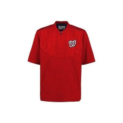 野球 MLB マジェスティック Majestic Washington Nationals Men's Red On-Field Training Half Zip Pullover