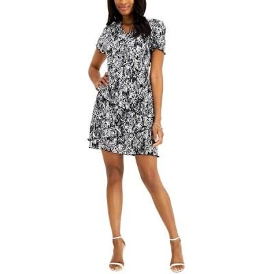 コネクテッド ワンピース トップス レディース Petite Floral-Print Pleated Tiered Dress Black