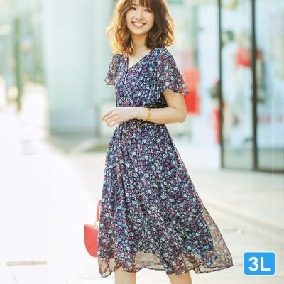 GeeRA 【3L】シフォンプリントワンピース ブルー 3L レディース