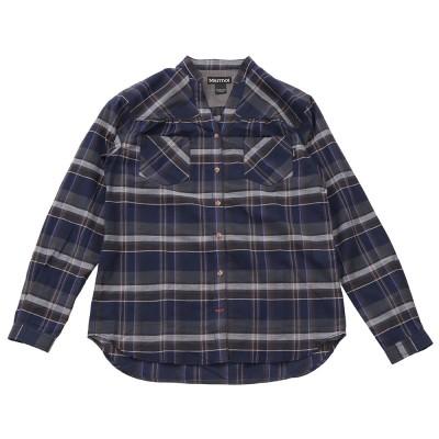 マーモットシーエルプラッドスキッパーネックシャツ T PJB75 NVネイビーS