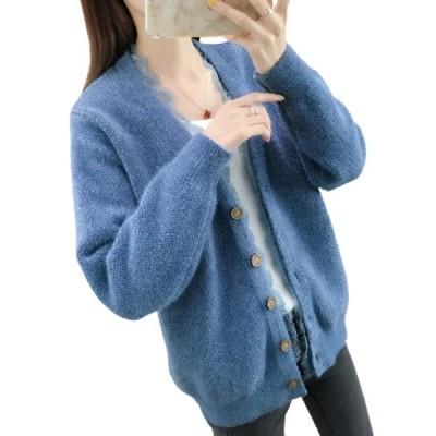 5色選択 カーディガン ニット レディース 秋冬 ミンクカシミア  セーター Vネック 着痩せ