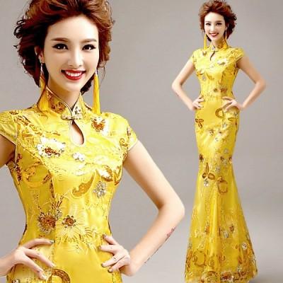 ウエディングドレス パーティードレス 安い 可愛い 花嫁 結婚式 披露宴 マーメイド カラードレス ロングドレス