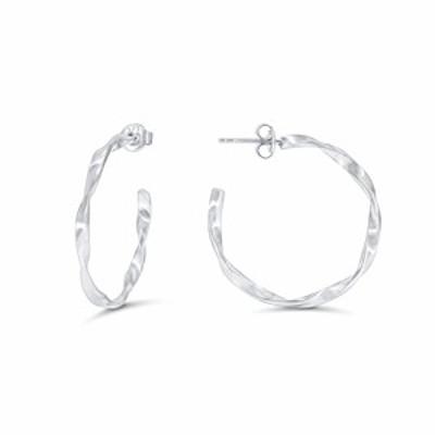 特別価格送料無料925 Sterling Silver Twisted Hoop Earrings for Women Hypoallergenic Earrings for Sensitive E