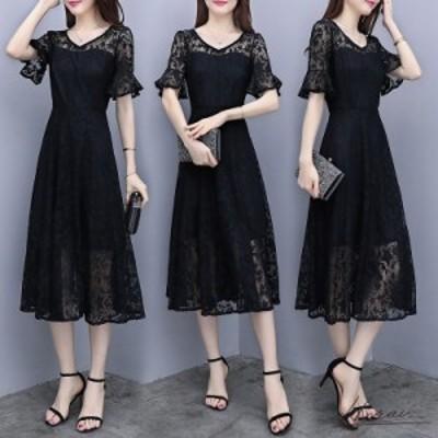 韓国 パーティードレス ミディ丈 五分袖 レース 刺繍 透け感 ワンピドレス  お呼ばれ 20代 30代 40代