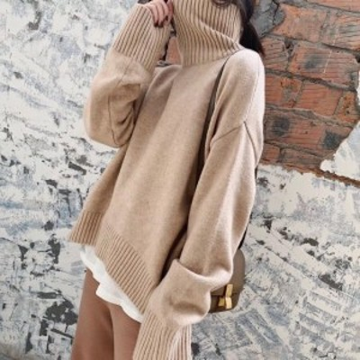 タートルネック ニット レディース ニットセーター レディース 大きいサイズ レディース セーター ボリューム袖 長袖 春 着まわし きれい