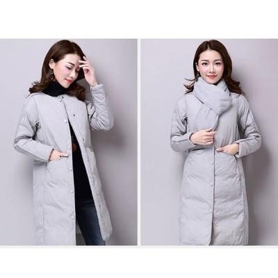 中綿入りコート女性冬中綿入りコート丸首ダウンジャケットロング丈無地大きいサイズ着痩せ細身グレーブラックベージュ