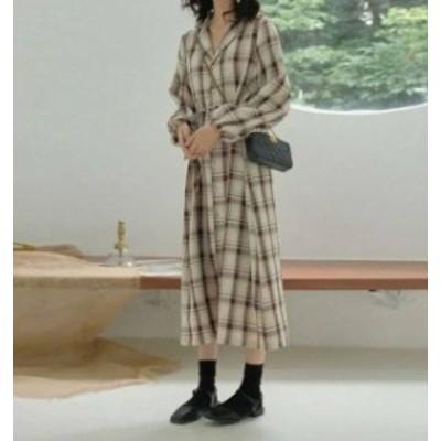 チェック柄 シャツワンピース ロング シンプル 大きいサイズ ゆったり カジュアル レトロ 韓国 オルチャン ファッション