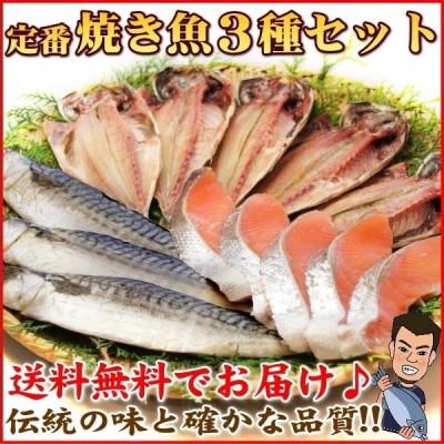 干物 セット 定番 焼き魚 3種セット 送料無料 アジ開き干・天塩干さば・甘塩銀鮭切り身 (海鮮 限定 ギフト)