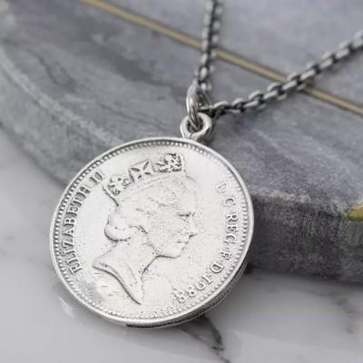 シルバー925 5ペンス イギリス硬貨 コイン風 メダル ペンダントトップ SV925 メンズ レディース ネックレス アンティーク調 銀貨