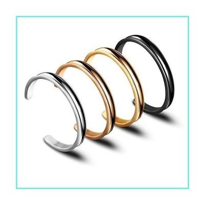 【新品】Zuo Bao Hair Tie Bracelet Stainless Steel Grooved Cuff Bangle for Women Girls (4 Colors/Set)(並行輸入品)