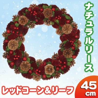 玄関 クリスマスパーティー 雑貨 装飾 ナチュラルリース レッドコーン&リーフ 45cm