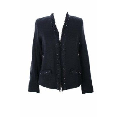 ファッション 衣類 Aqua New Black Textured Stud-Trim Open Front Jacket L