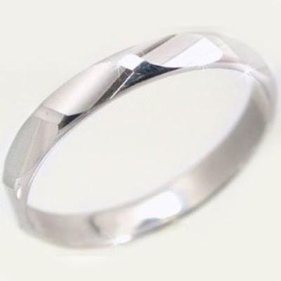 ホワイトゴールド ダイヤカット加工 ペアリング 結婚指輪 ピンキーリング K10wg 指輪