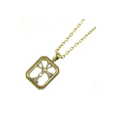 ジュエリー ペンダント デザイン クロス ダイアモンド k10イエローゴールド 4月誕生石