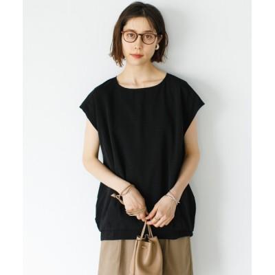 シャツ ブラウス サテン裾タックブラウス*