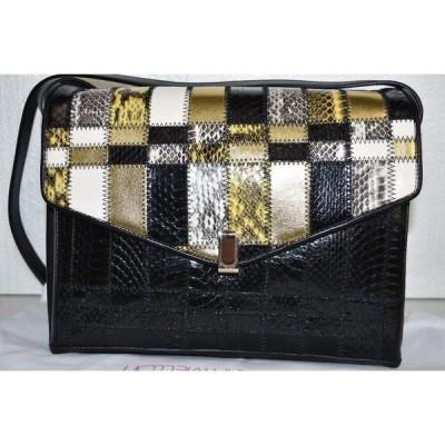 バッグ ハンドバッグ 海外セレクション Tamara Mellon Pleasure SNAKE Shoulder Bag Black Gold Crossbody Bag Clutch
