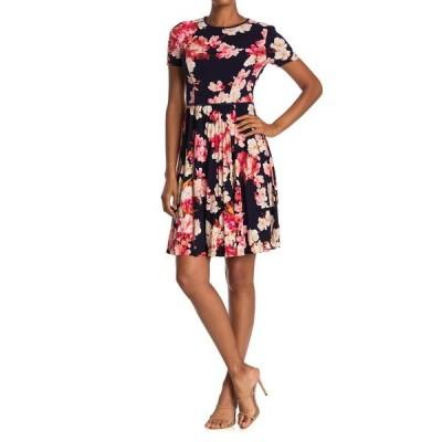 マギーロンドン レディース ワンピース トップス Azalea Floral Short Sleeve Pleated Dress NAVY/CERIS