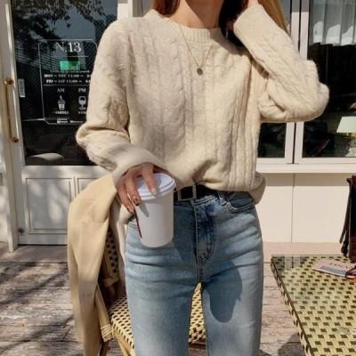 ENVYLOOK レディース ニット/セーター Soft Twisted Basic Round Neck Knitwear