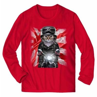 【サイベリアン ねこ バイク 日本 日の丸】メンズ 長袖 Tシャツ by Fox Republic