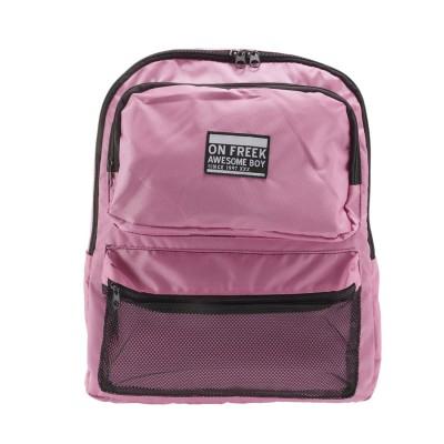 ノーブランド No Brand ジップ ZIP ruck8179 メッシュポケット バックパック (ピンク)