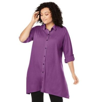 レディース 衣類 トップス Woman Within Women's Plus Size Button-Front Collared Maxi Tunic ブラウス&シャツ