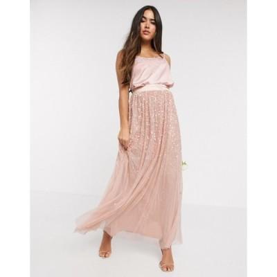 アメリアローズ レディース スカート ボトムス Amelia Rose ombre sequin maxi tulle skirt in rose