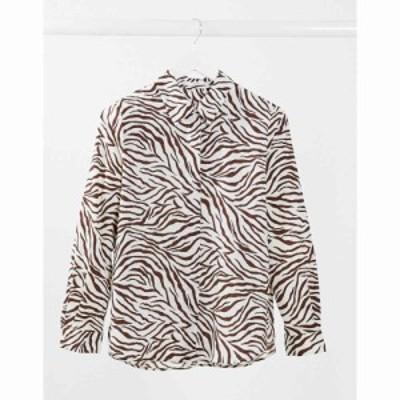 マンゴ Mango レディース ブラウス・シャツ トップス zebra button down shirt in multi マルチカラー