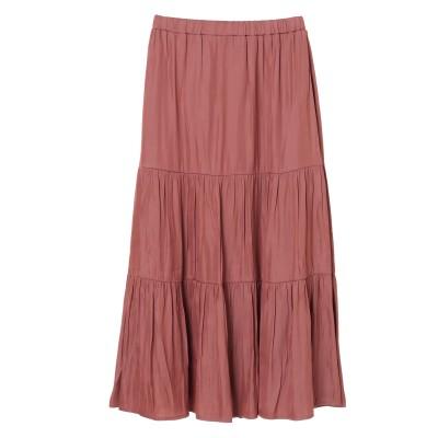 <WEB限定大きな・小さなサイズ>サテンティアードスカート