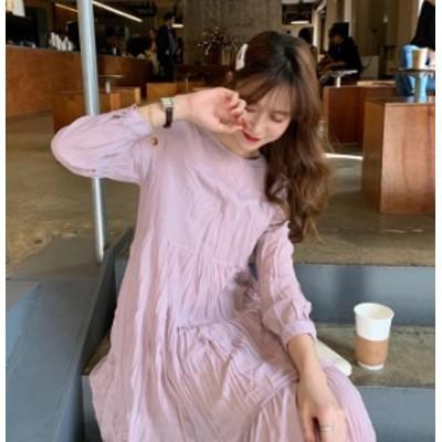 ワンピース ロング 長袖 夏 レディース 韓国 ファッション フレア ミモレ丈 ワッシャー しわ加工 ゆったり フェミニン 大人可愛い レトロ