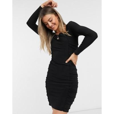 フレンチコネクション レディース ワンピース トップス French Connection ruched jersey straight neck dress in black