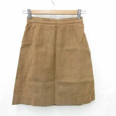 【中古】フォクシーブティック  FOXEY BOUTIQUE スカート ひざ丈 台形スカート フェイクレザー ブラウン 茶 40 レディース