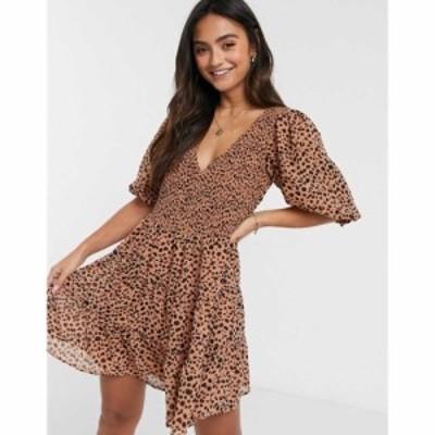 エイソス ASOS DESIGN レディース ワンピース Vネック ティアードドレス Shirred Mini Tiered Smock Dress With V Neck In Spot Print ス