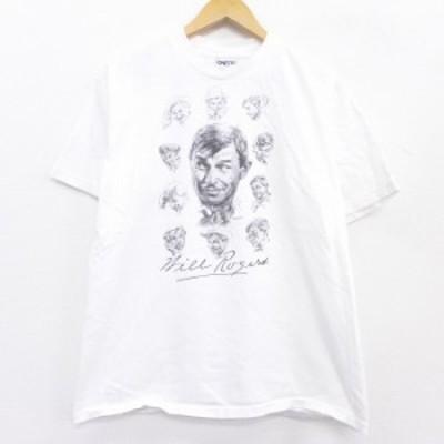 古着 半袖 ビンテージ Tシャツ 90年代 90s ウィルロジャース コメディアン コットン クルーネック USA製 白 ホワイト spe Lサイズ 中古