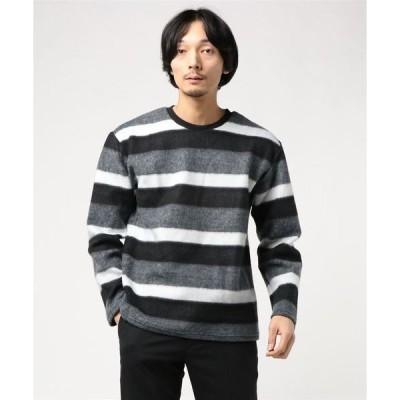 tシャツ Tシャツ 【BS】パイル起毛ロングスリーブボーダーTシャツ