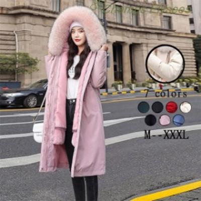 ダウンジャケット 長袖 韓国風 ダウンコートレディース アウター 防寒 冬 フード付き 全7色 大きいサイズ M~4XL コート ゆったり 無地